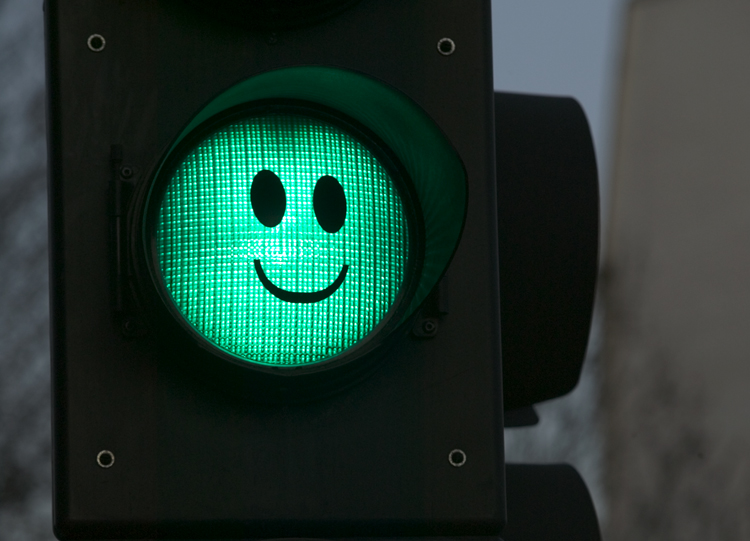 Happy green traffic light.